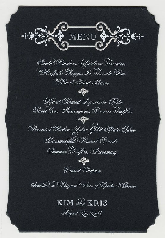 Kim Kardashian Kris Humphries Original Embossed Wedding Menu