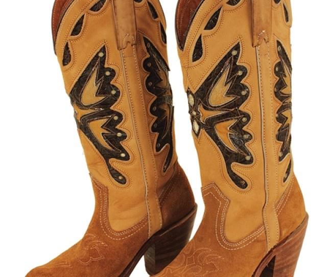 Britney Spears Britney Album Release Worn Suede Butterfly Cowboy Boots