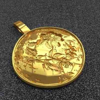 exclusieve gouden hanger met bladmotief