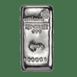 Umicore 250 gram zilverbaar
