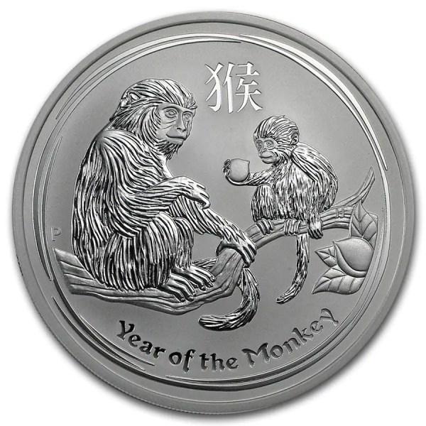 Lunar Aap 5 troy ounce zilveren munt 2016
