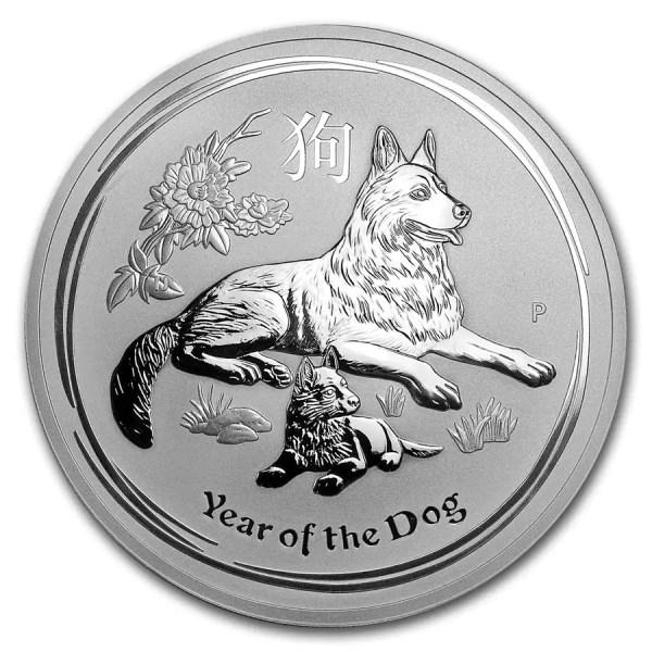 Lunar Hond 1 kilo zilveren munt 2018