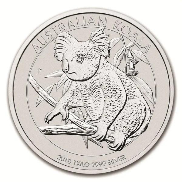 Koala 1 kilo zilveren munt,