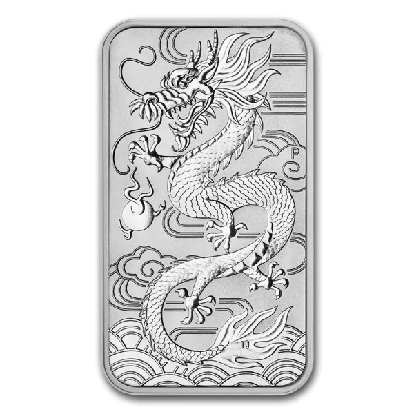 Dragon 1 troy ounce Rectangular zilveren munt 2018