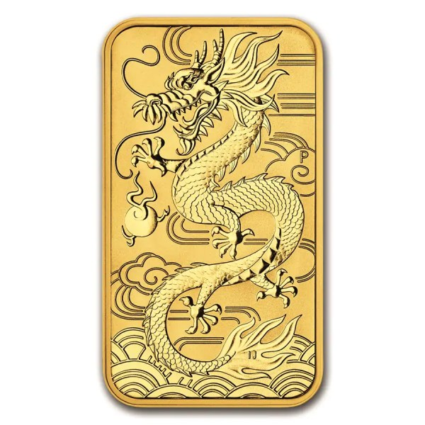 Dragon 1 troy ounce Rectangular gouden munt 2018