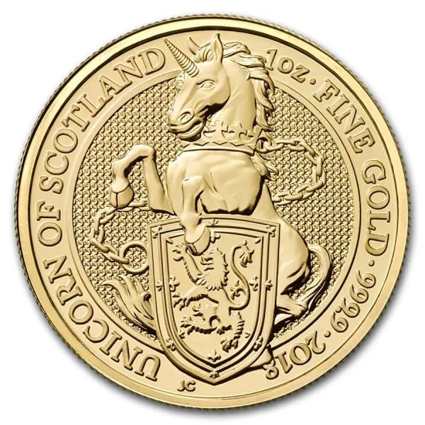 Queens Beast Unicorn 1 troy ounce gouden munt 2018