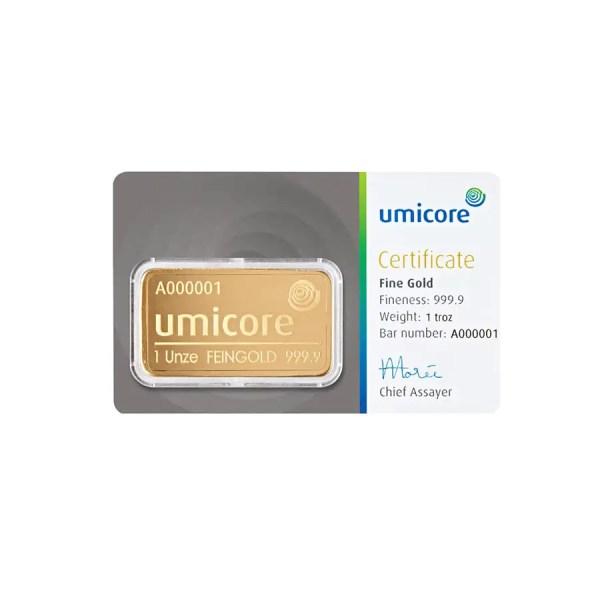 Umicore 1 troy ounce goudbaar met certificaat
