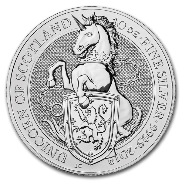 Queens Beast Unicorn 10 troy ounce zilveren munt 2019