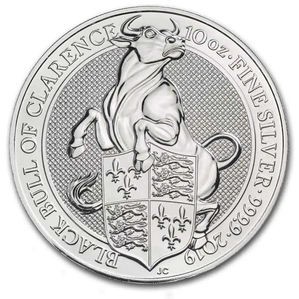 Queens Beast Bull 10 troy ounce zilveren munt 2019