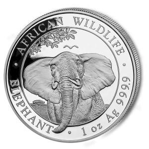 Somalische Olifant 1 troy ounce zilveren munt 2021