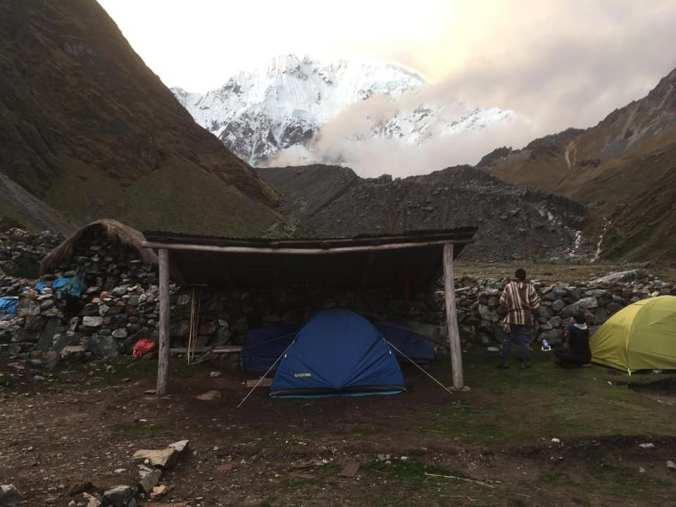 Sleeping under the Salkantay mountain