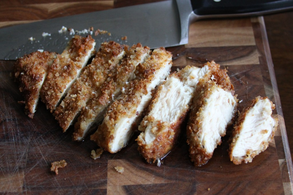 Sliced Juicy Fried Chicken Cutlets