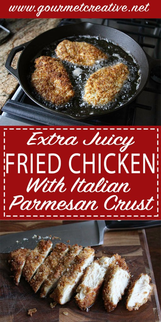 Fried Chicken Cutlet with Panko Parmesan Breading Crust