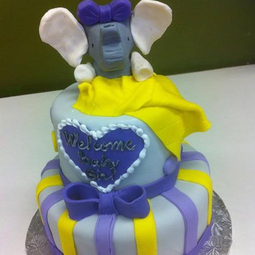 Yellow Elephant Baby Shower Cake - Drawing Apem