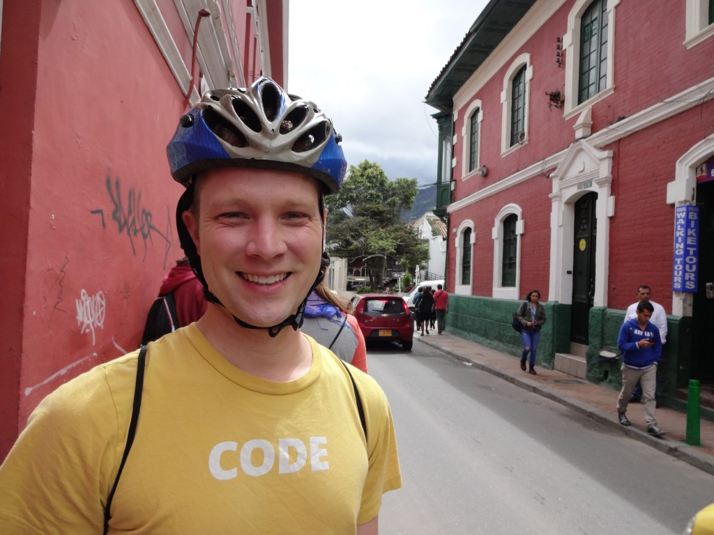 Kevin is ready to go on the Bogota Bike Tour, our favorite experience - it's a long day!