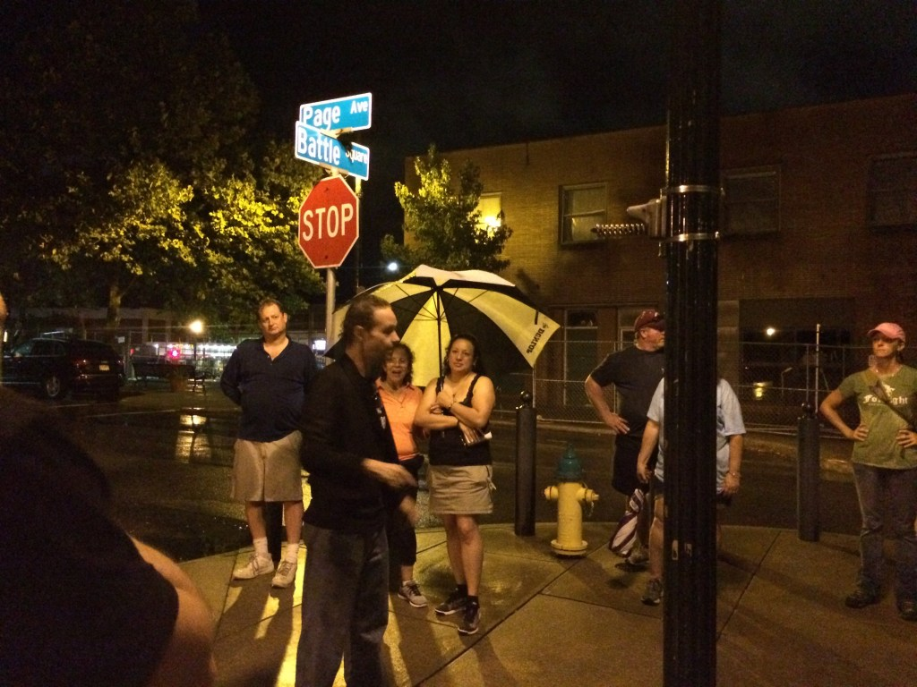 Getting some great ghost stories - 2 hour walking tour rain or shine. And we definitely got wet!