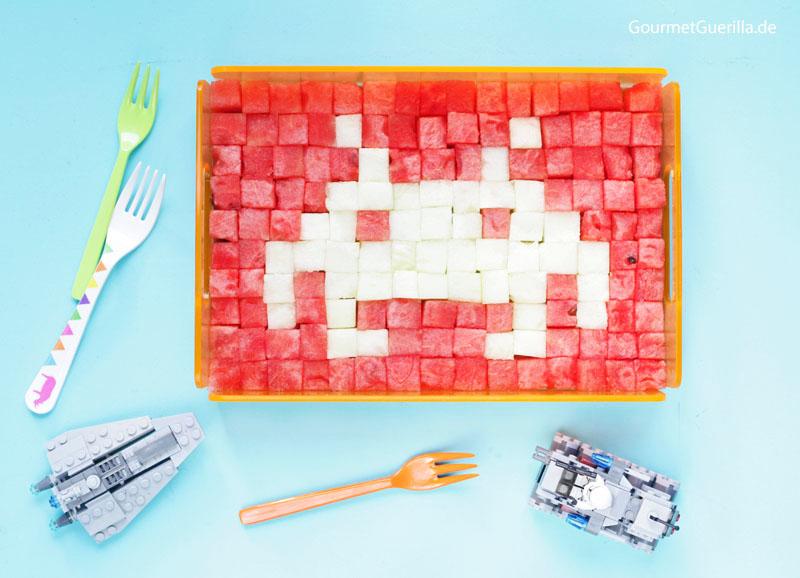 Melone Space Invader #gourmetguerilla #rezept #kinder #obst