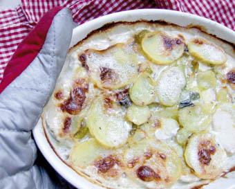 Kartoffel-Lauch-Gratin mit Gorgonzola