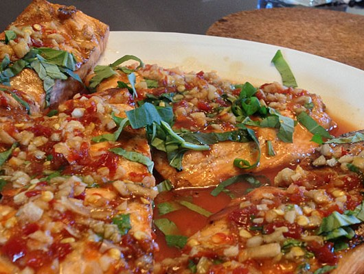 Spicy Ginger Glazed Salmon with Basil