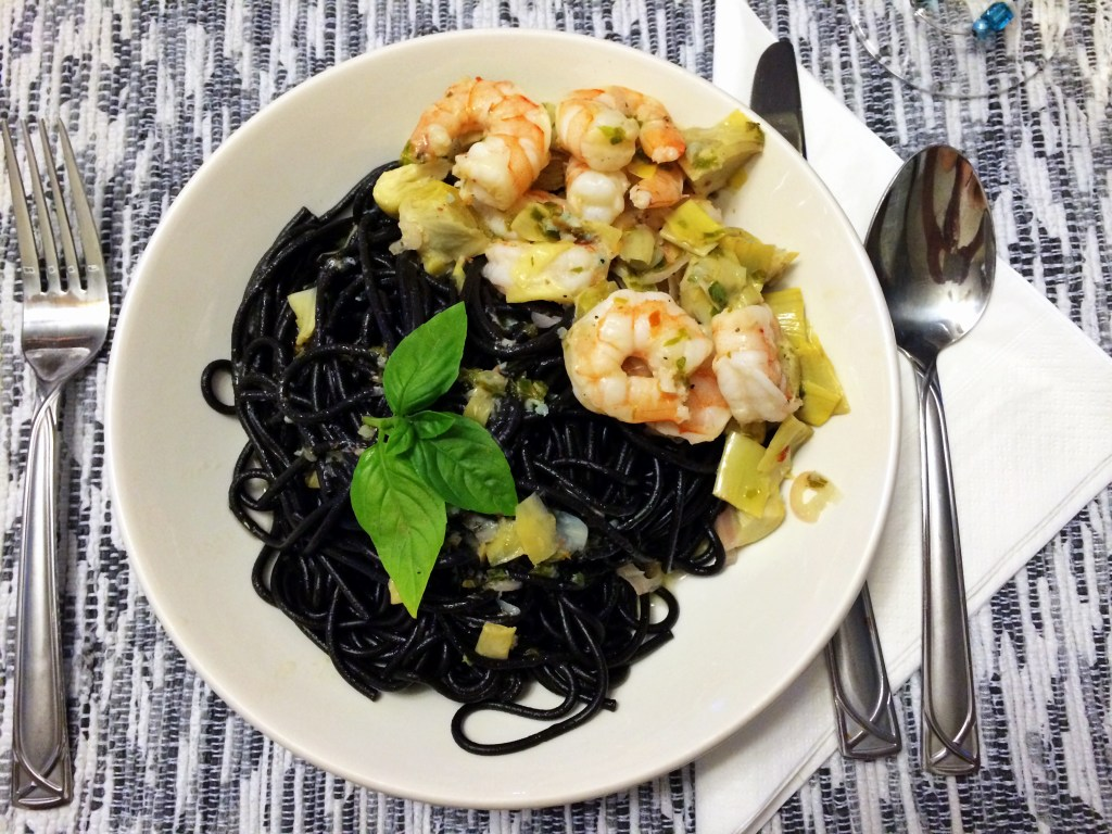 Squid Ink Pasta with Shrimp and Artichokes