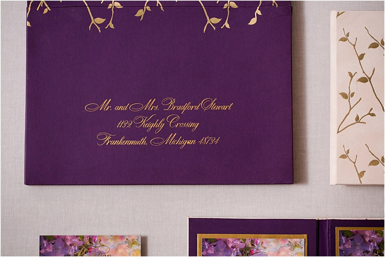 gold writing on envelopes