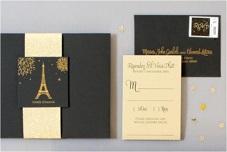 black and gold invitations