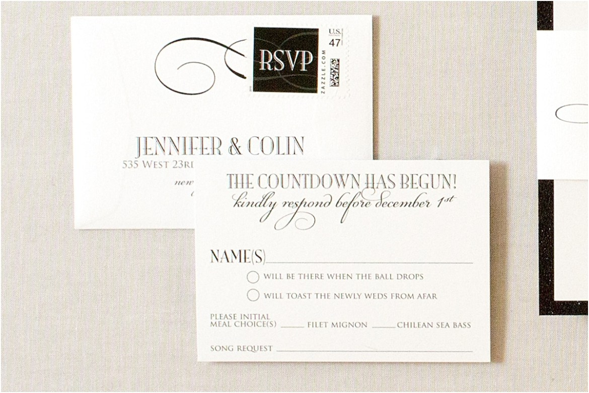 black glitter invitation