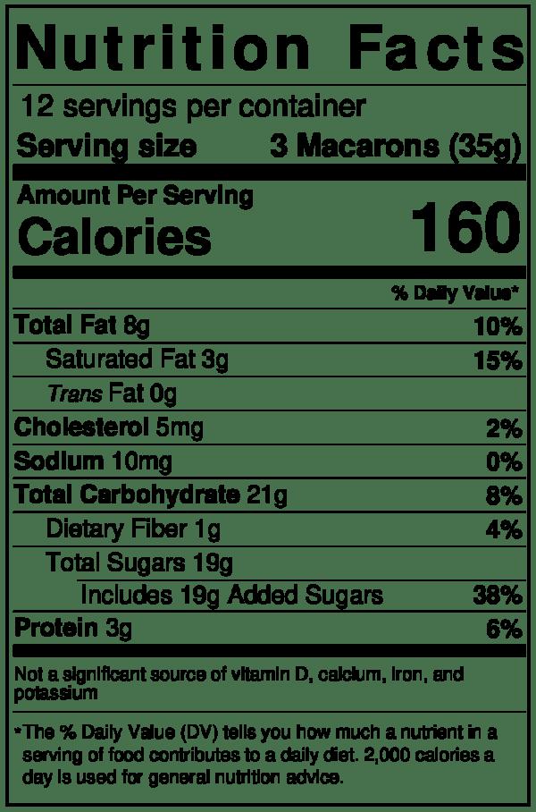 Tipiak Pistachio Macron Nutrition