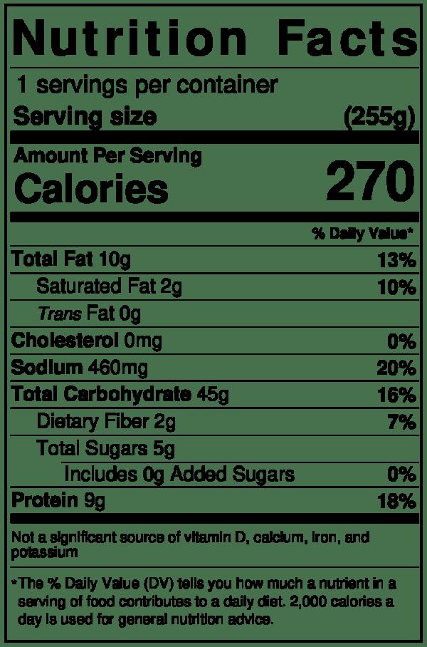 Sweet Earth Nutrition Label