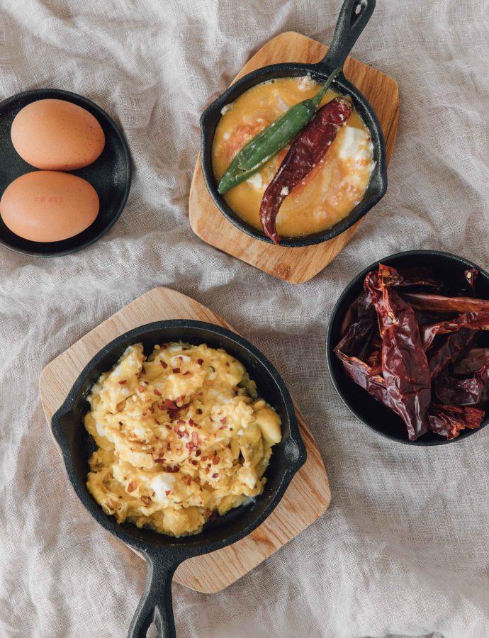 Chilli Cheese Scrambled Eggs (Ema Datshi/ Gondo Datshi)- Bhutan