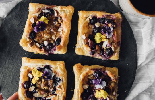 Puff Pastry Danishes with Blueberry and Cream Cheese (Wienerbrød)