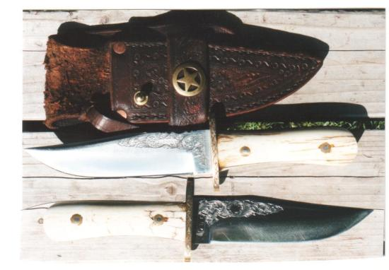 Exquisite Engraved Small Bowie Knife