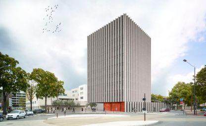 Perspective. Operation Icone. Place Albert Camus. Architectes : Agence Unite-Souto de Moura. Maitrise d'ouvrage: Alter Immo. Nantes (Loire-Atlantique) © Agence Unite-Souto de Moura/Samoa