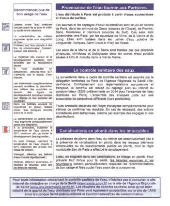 recommandations usage eau robinet paris
