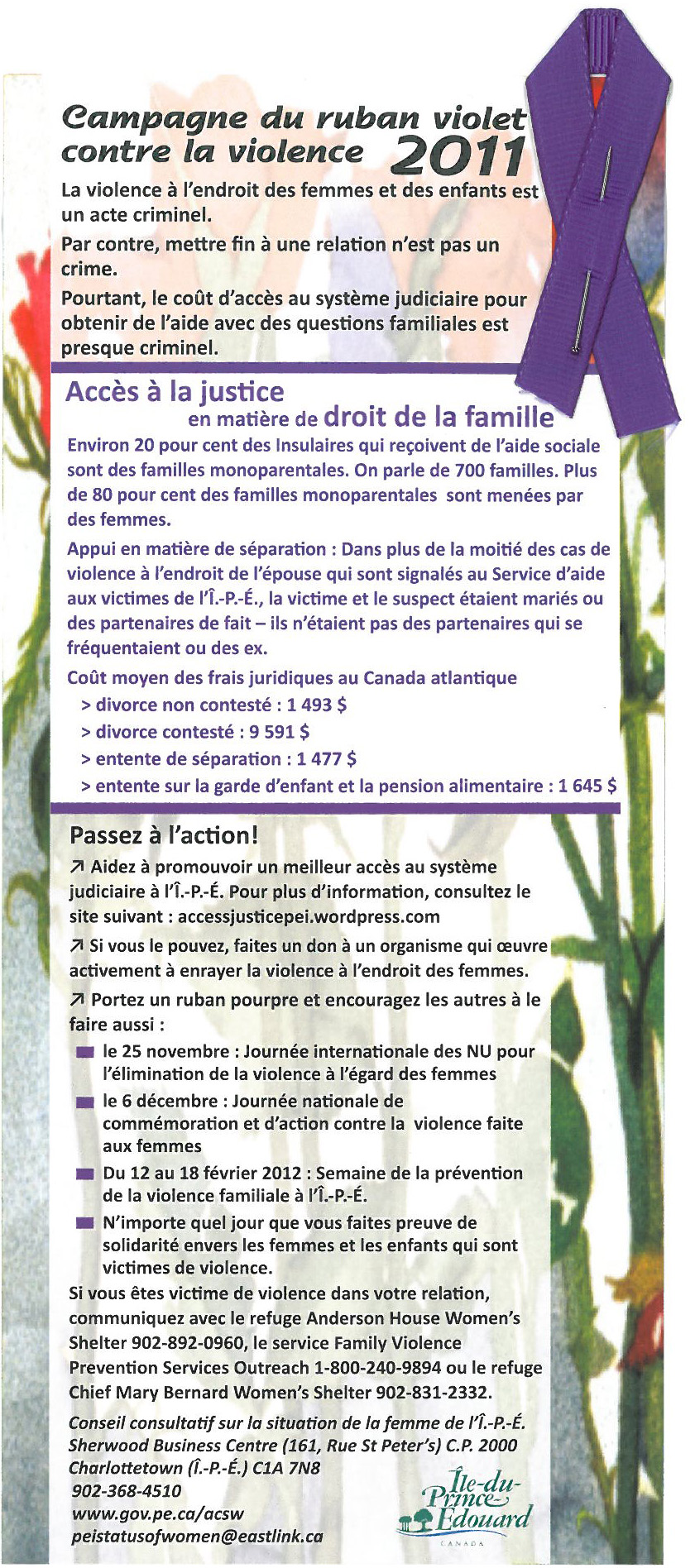 Carte d'information, Campagne du ruban violet