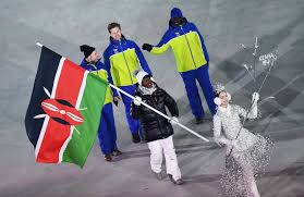 Sabrina at the opening ceremony for the Winter Olympic Games holding the Kenyan flag