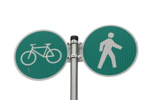 Traffic sign with bike and pedestrian symbols