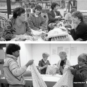 Black and white photos of people talking and folding clothes