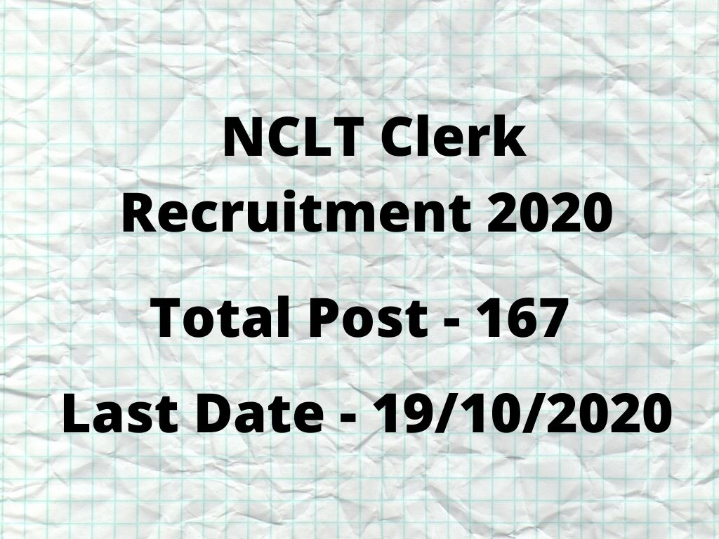 NCLT Clerk Recruitment 2020
