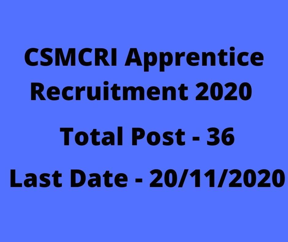 CSMCRI Apprentice Recruitment