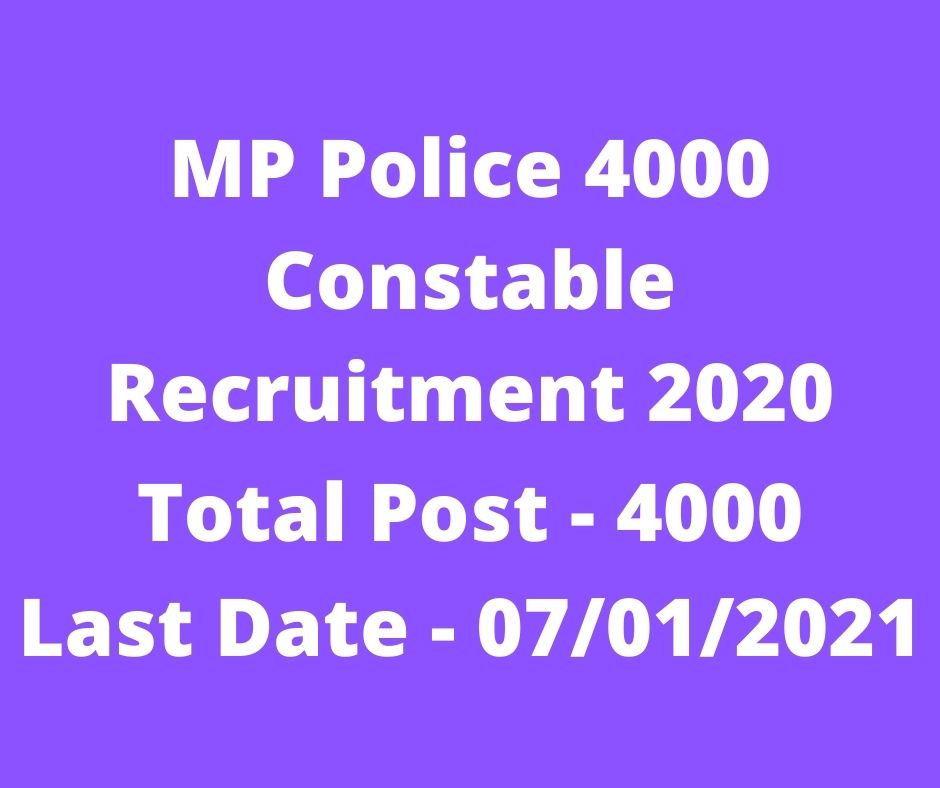 MP Police 4000 Constable Recruitment