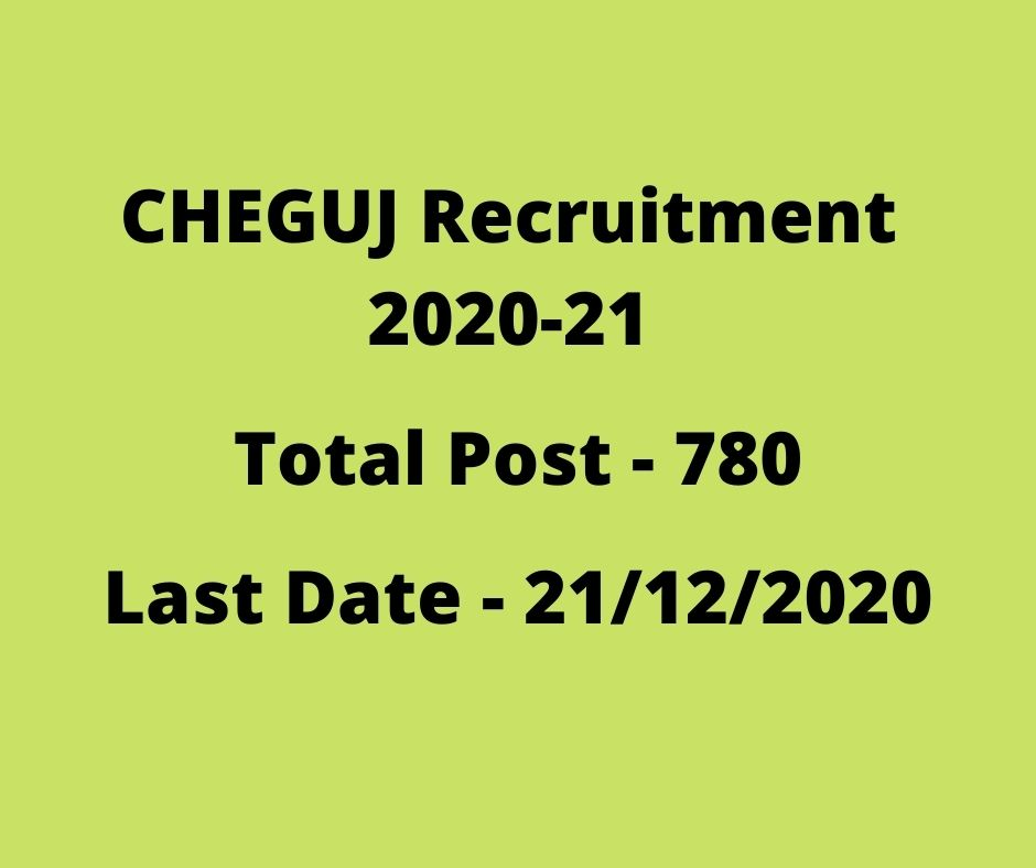 CHEGUJ Recruitment 2020-21