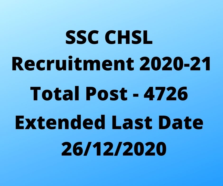 SSC CHSL Recruitment 2021