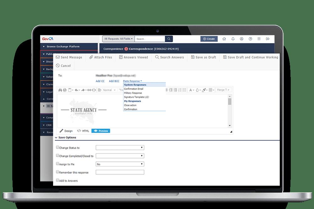 govqa correspondence management solution platform on macbook pro