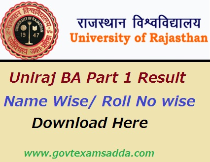 Uniraj BA Part 1 Result 2020