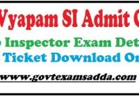 MP Vyapam SI Admit Card