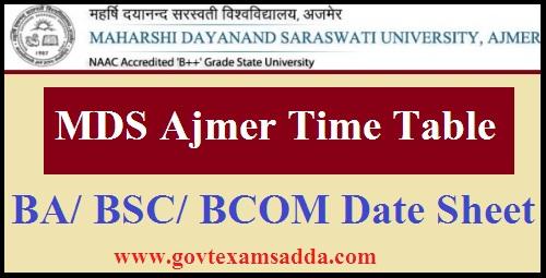 MDSU Ajmer Time Table 2021