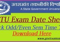 UTU Exam Date Sheet 2021