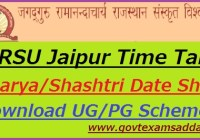 JRRSU Jaipur Time Table 2020