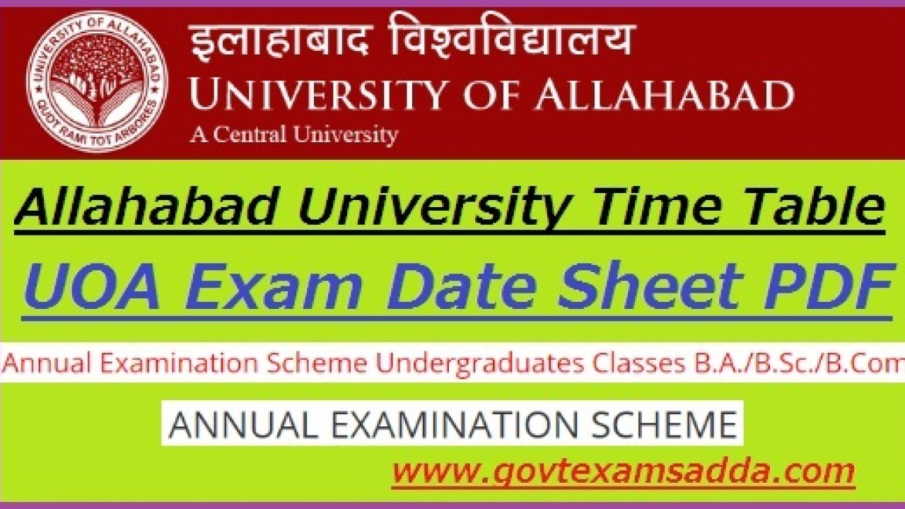 Allahabad University Time Table 2020 BA Bsc Bcom Date Sheet